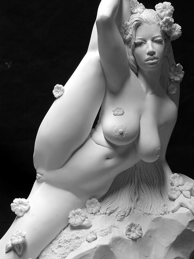 Nude sculpture seductive woman female body statue