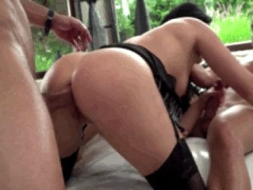 Ass fucked while she sucks our guest