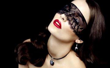 Black Mask Red Lips