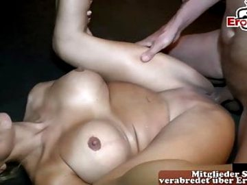 Blonde german milf with big tits at cum inside sex party