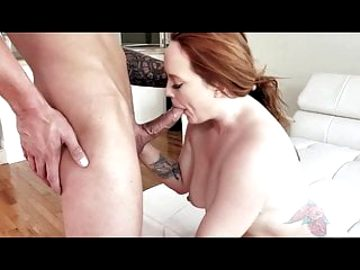 Busty milf fucks anal on white couch