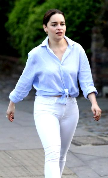 Emilia Clarke Squeezes Her Squat Little Booty Into Tight White Jeans
