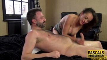 Fetish busty babe rides cock before whipping