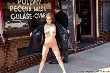 Flash-in-public – Ursula S – On The Streets In A Park And Inside A Subway Station