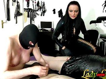 German slave must learn blowjob for femdom Domiina bdsm
