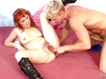 Ginger StepMom Seduce Son to Fuck her Hairy Pussy GERMAN