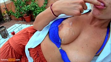 Glazed Her Tits, She's Happy With The Result And Tastes The Cum.