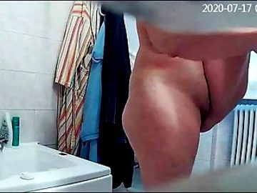 Hidden camera, my wife is shaving in the shower