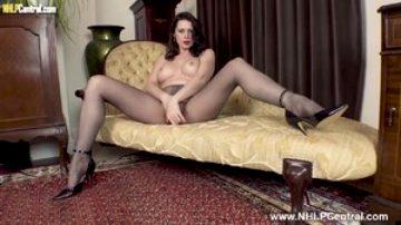 Hot Milf Karina Currie fucks huge cock toy in pantyhose