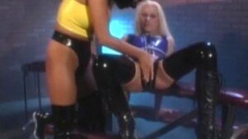 Latex BDSM blonde hot pussy fingering