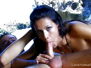 Racy Brunette Gets Throat Fucked On The Beach.mp4