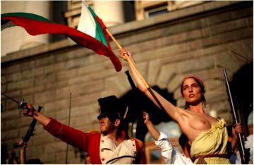 Reenactment Of Delacroixs Liberty Leading The