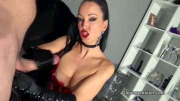 Satin Gloves Full Of Cum