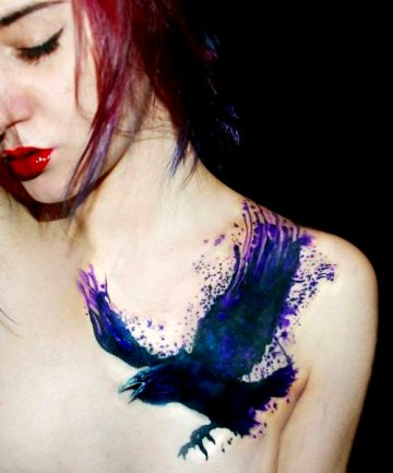 Watercolor Raven Tattoo, By Sasha Marsh
